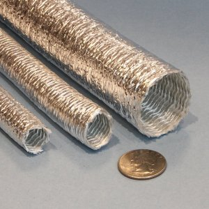 heat reflecting aluminized PET film coated fiberglass high bulk sleeve wire cable hose protection
