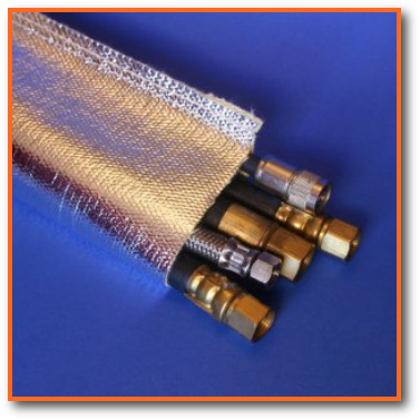 radiant heat reflective aluminized fiberglass sleeve for wire and cable and hose protection